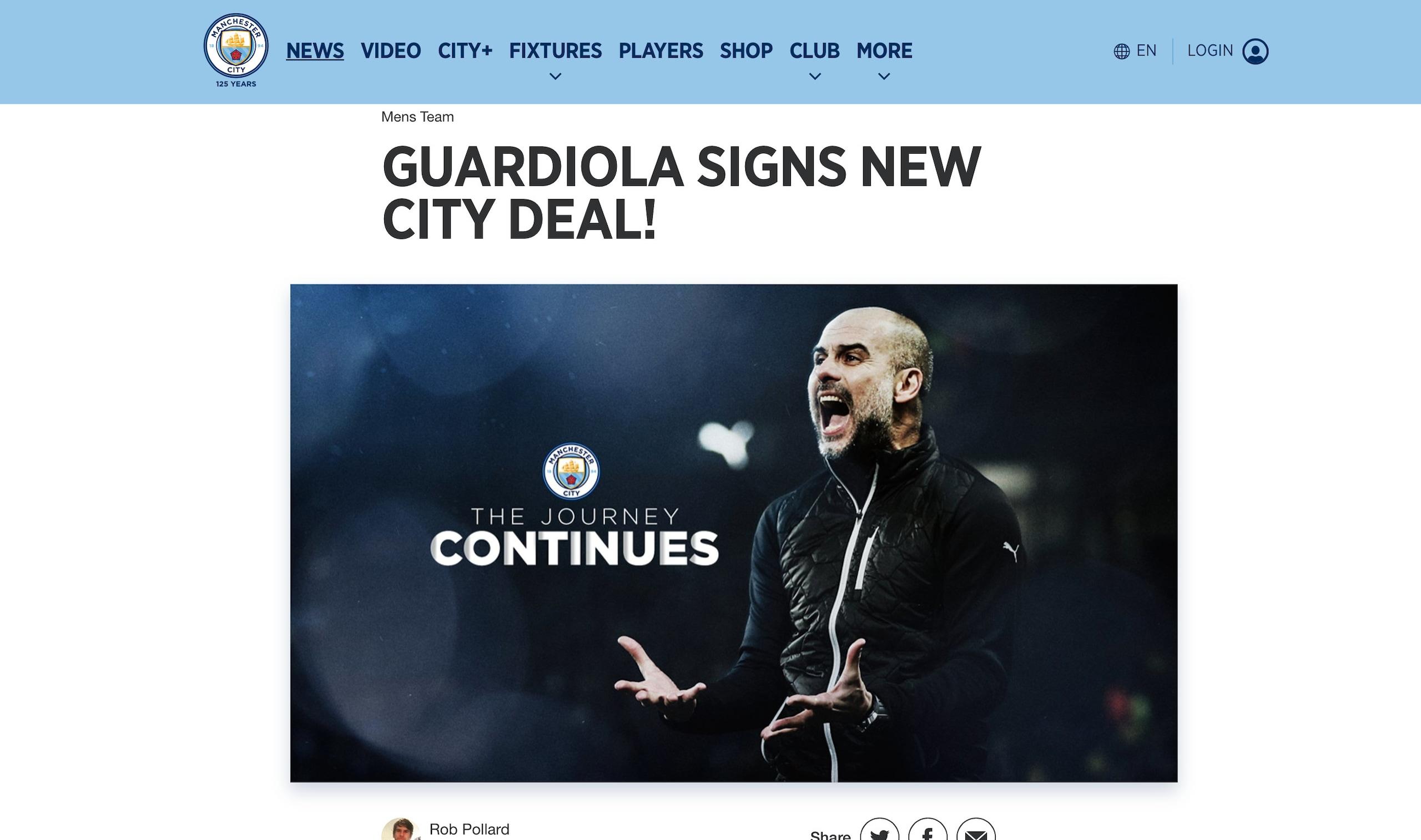 Manchester City, Guardiola rinnova fino al 2023