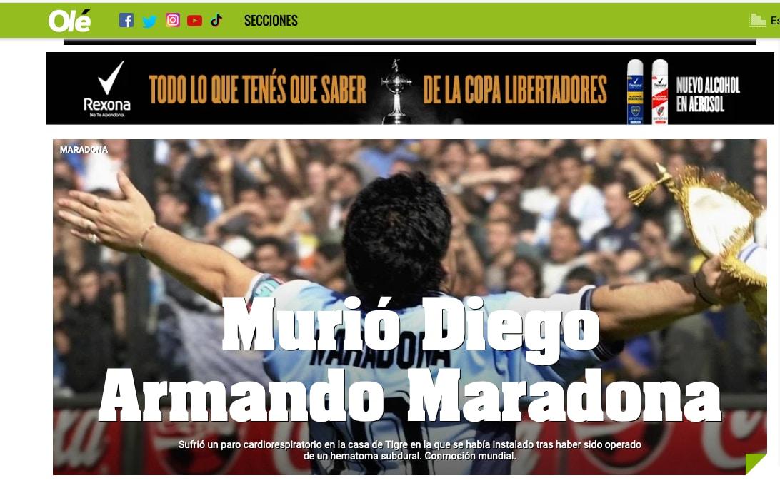La morte di Maradona sulle prime pagine del mondo