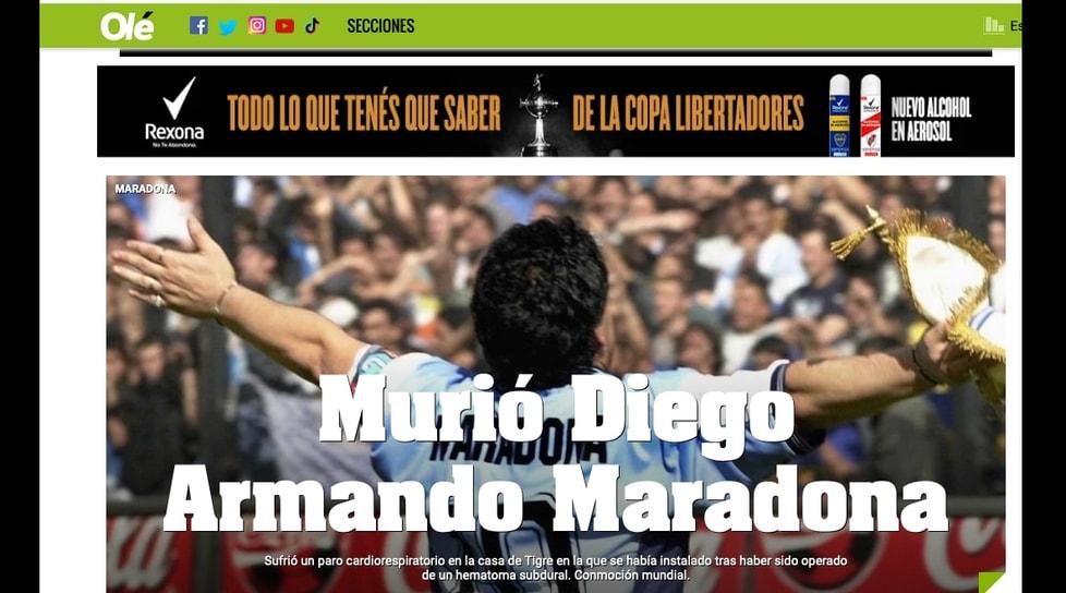 <p>Ecco come i principali quotidiani titolanola notizia della morte del Pibe de Oro</p>