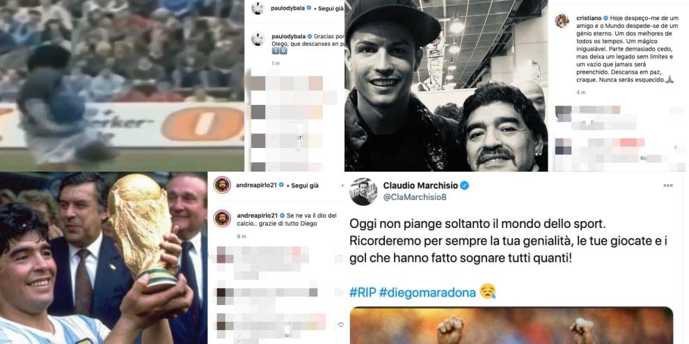 """L'addio a Maradona, Ronaldo: """"Genio eterno"""". Sui social i post di calciatori, vip e politici"""