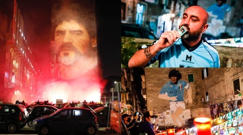 Maradona salutato dai tifosi del Napoli: il raduno sotto al murales