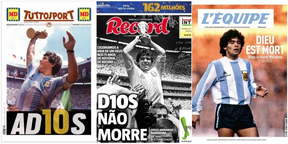 Maradona è morto, le prime pagine di tutto il mondo ricordano il mito