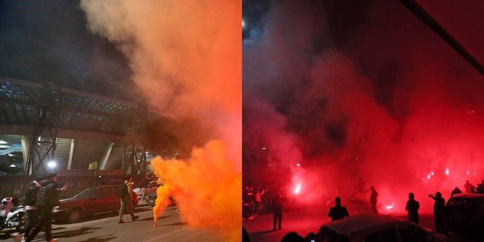 Maradona, il tributo dei tifosi all'esterno dello stadio: fumogeni e cori