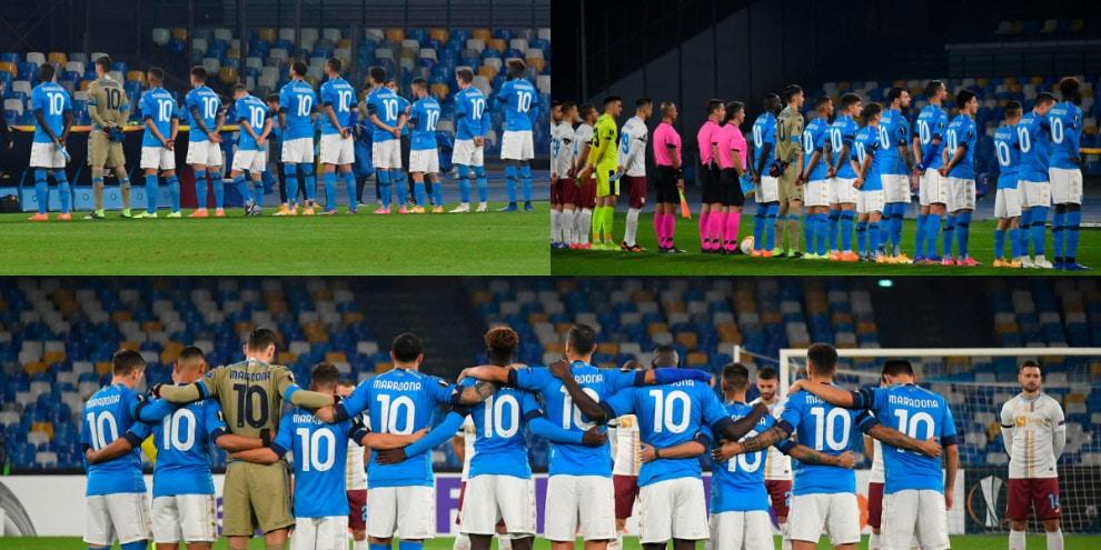 Il Napoli in campo con la numero 10 di Maradona
