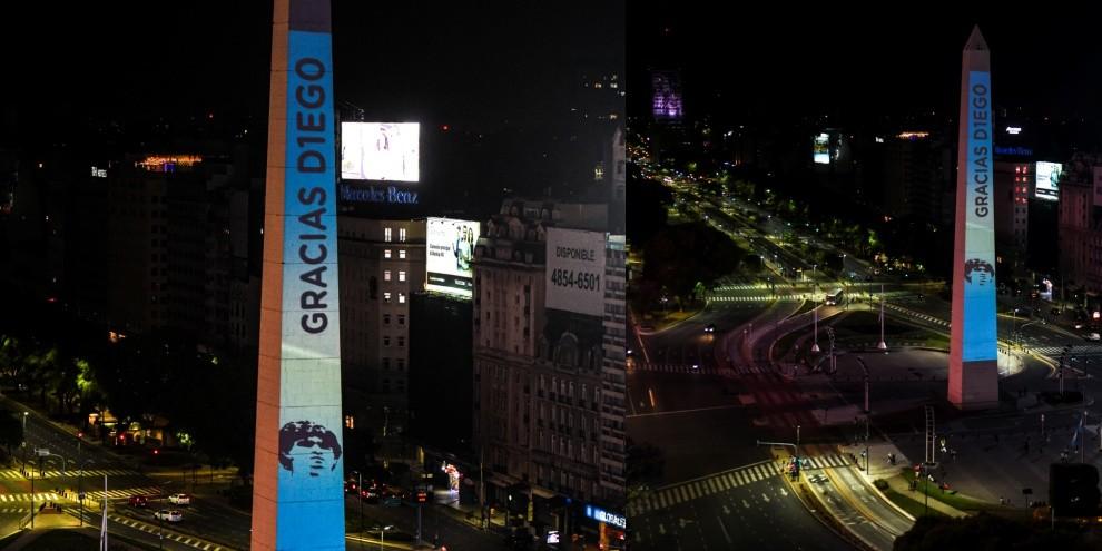 Maradona, l'Obelisco di Buenos Aires si illumina per l'ultimo saluto