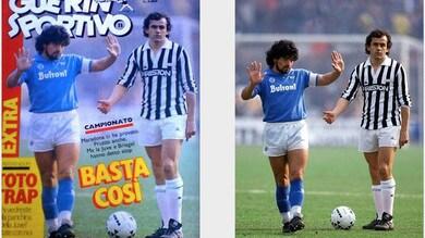 Maradona: la storia di quella foto con Platini (che oggi è il poster di Tuttosport)