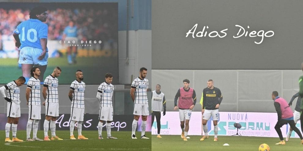 Maradona, l'omaggio in Sassuolo-Inter: foto sul maxischermo