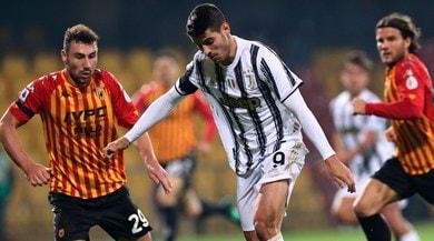 Benevento-Juve 1-1: Morata gol ed espulsione finale, Pirlo pareggia ancora