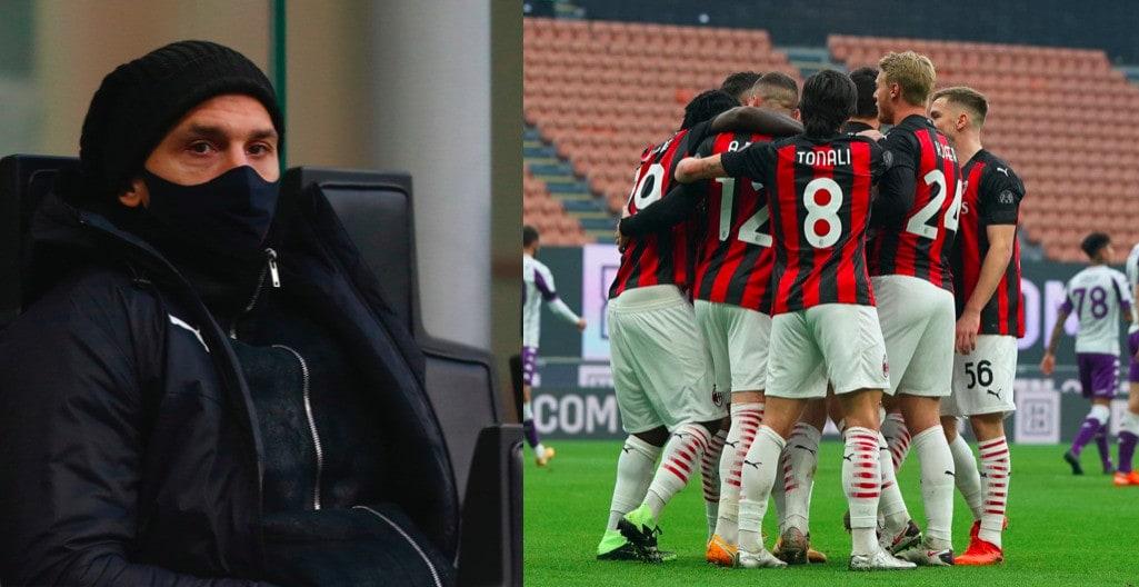 Ibrahimovic segue i compagni da bordocampo, il Milan vince 2-0 con la Fiorentina