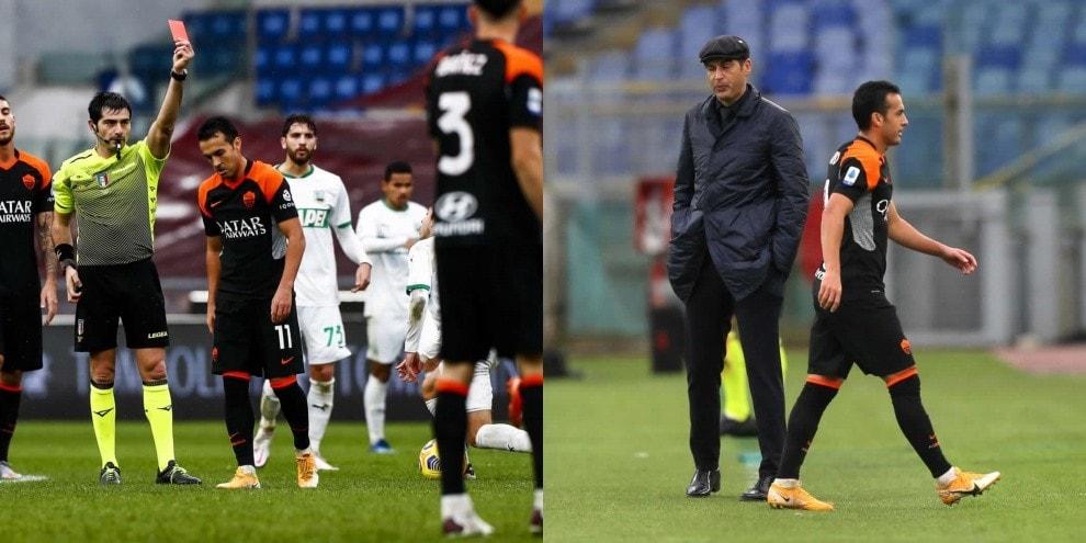 Roma-Sassuolo 0-0, l'espulsione di Pedro rovina i piani a Fonseca