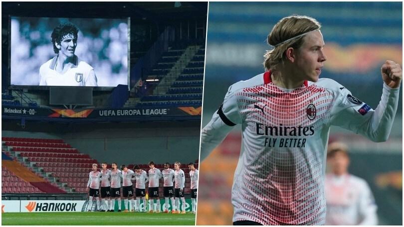 Hauge è l'uomo dell'Europa League: il Milan vince nel ricordo di Rossi