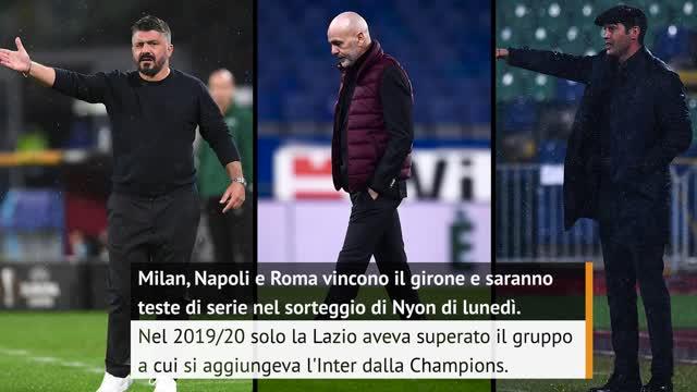 Milan, Napoli e Roma ai sedicesimi di Europa League: i numeri