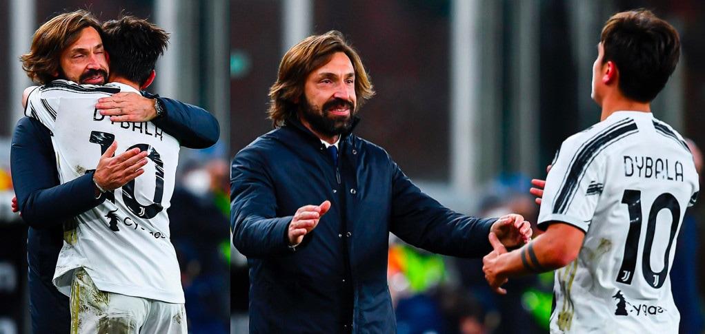 Juve, Dybala abbraccia Pirlo dopo il gol al Genoa