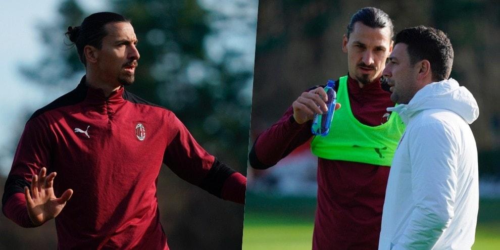 Ibrahimovic si riprende il Milan: allenamento e colloquio con Bonera