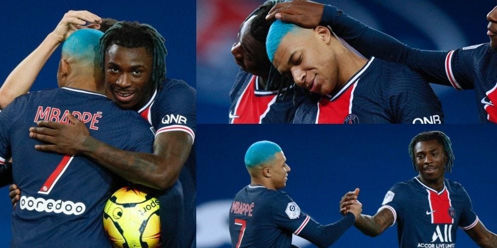 Mbappé e Kean, gemelli del gol e dei capelli colorati
