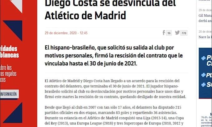 Mercato, Diego Costa divorzia dall'Atletico Madrid
