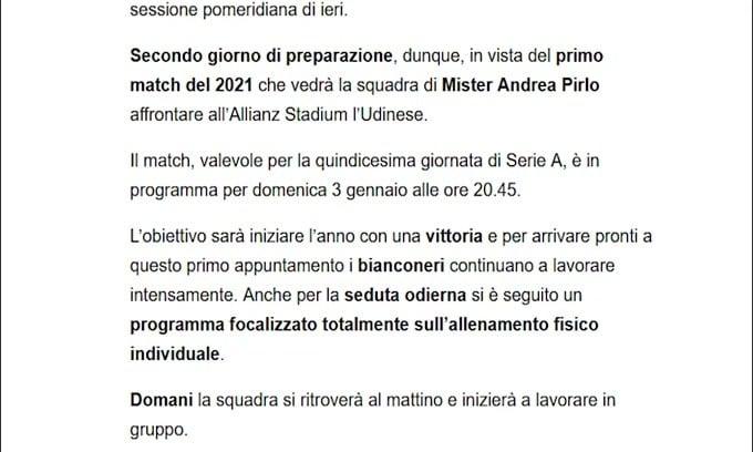 Verso Juve-Udinese, secondo giorno di lavoro per i campioni d'Italia