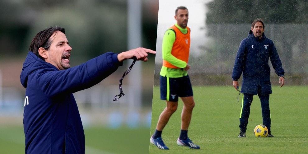 Lazio, Inzaghi scatenato in allenamento
