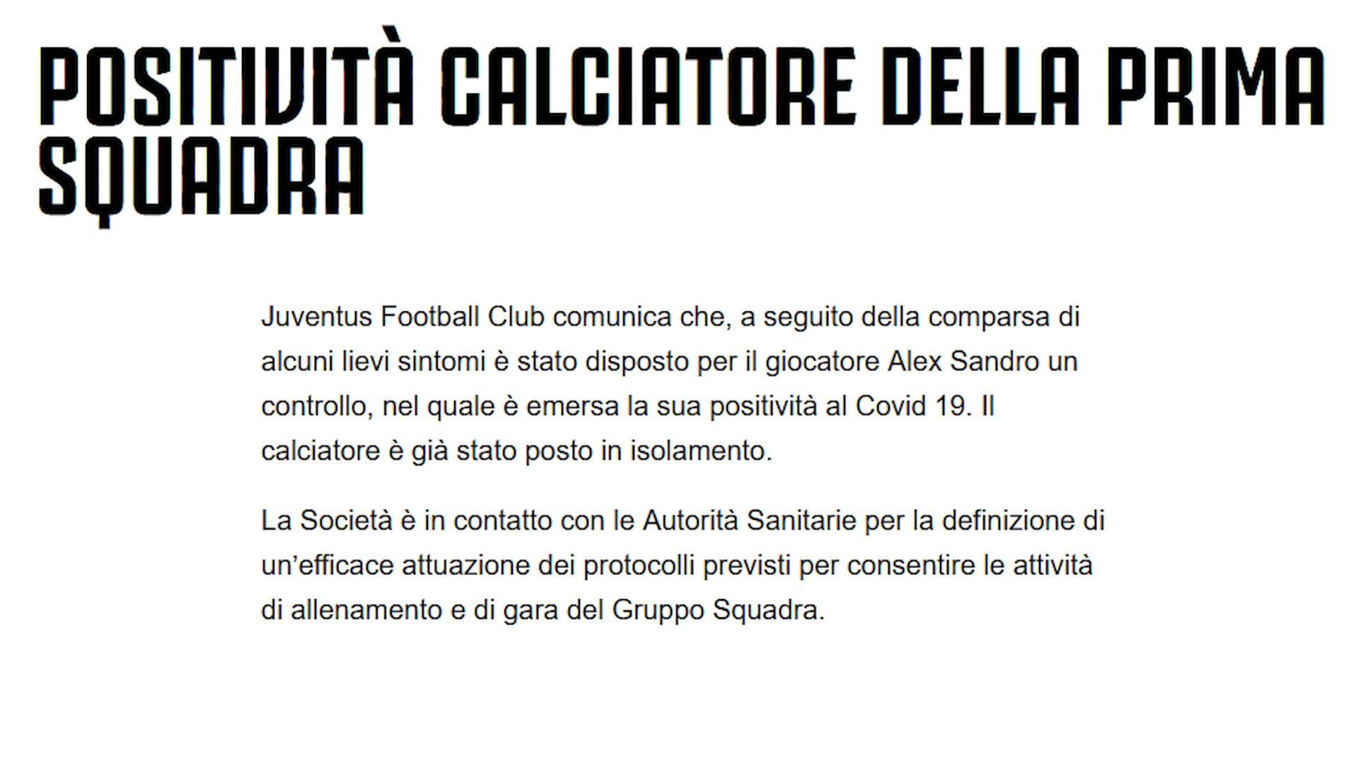 Tegola Juve, Alex Sandro positivo al Covid-19