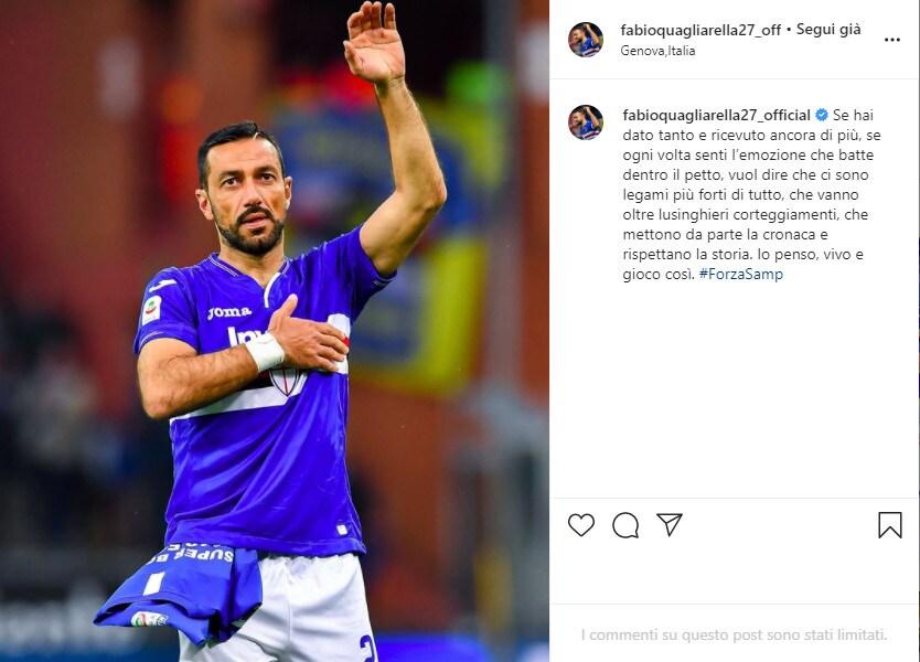 Il messaggio d'amore di Quagliarella per la Sampdoria