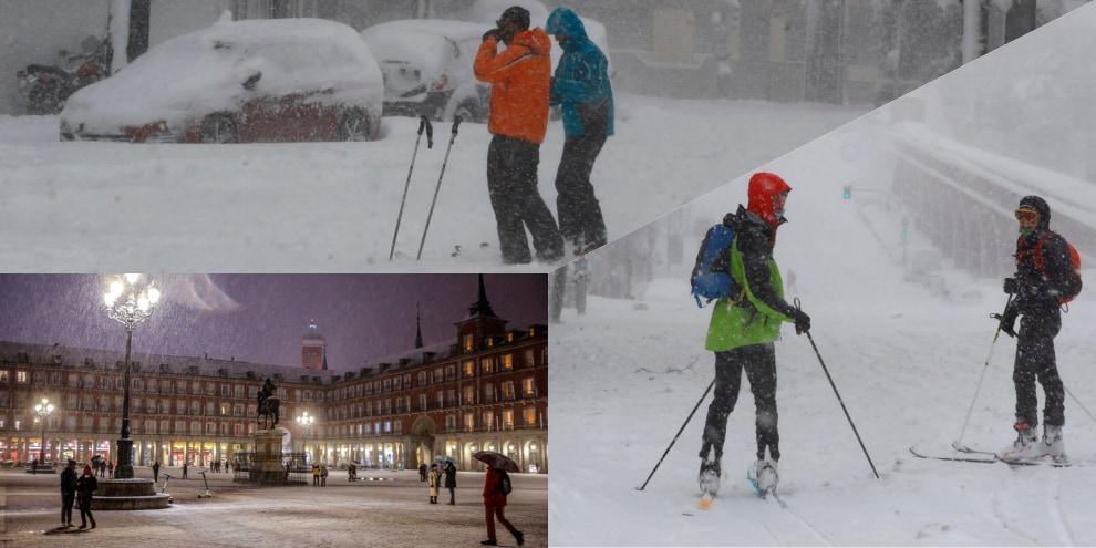 Tempesta di neve in Spagna: a Madrid si scia in città