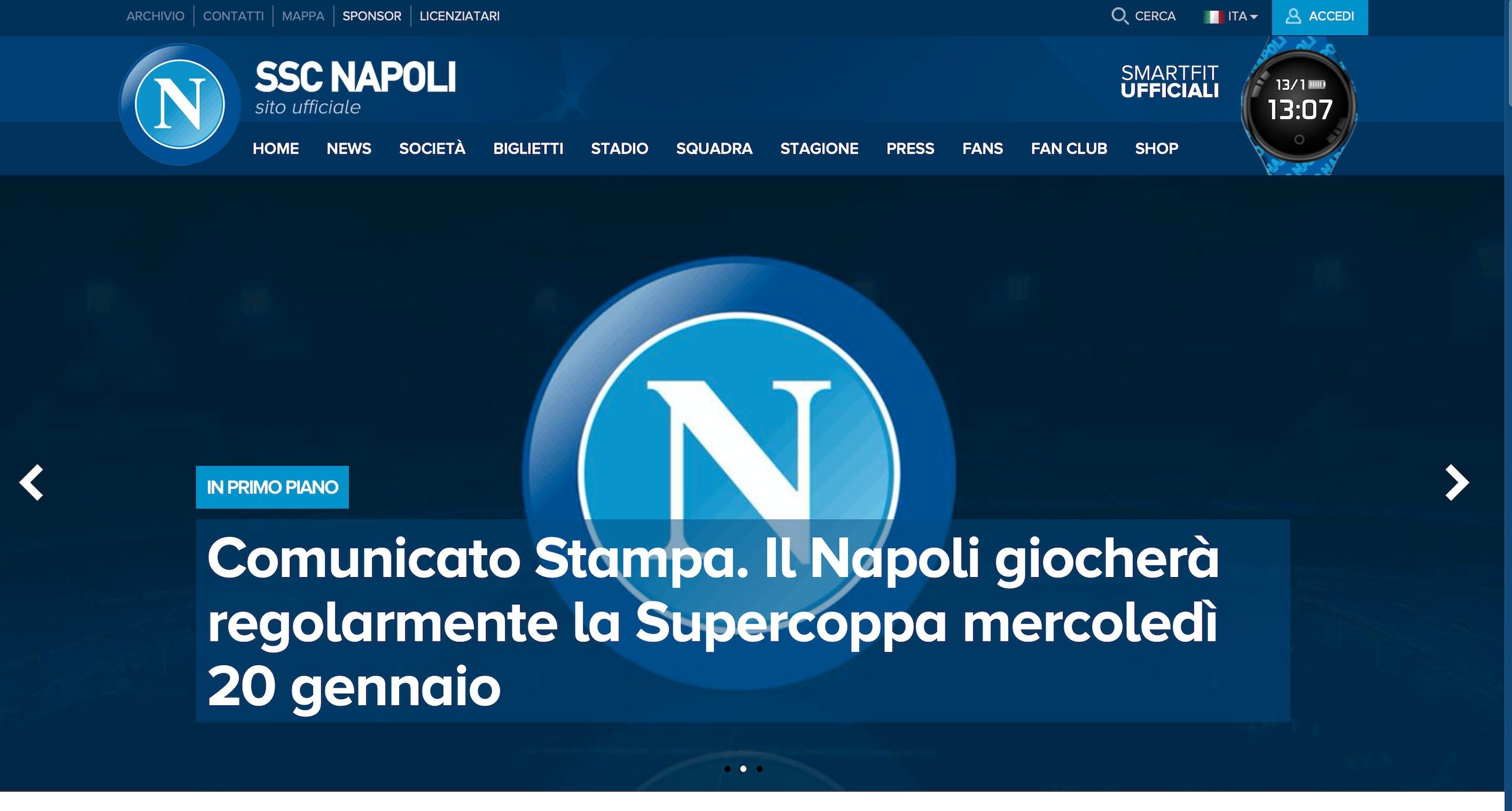 Il Napoli parteciperà alla Supercoppa
