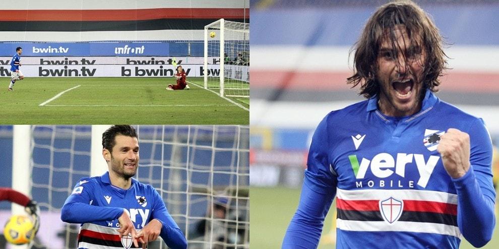 Il cucchiaio di Candreva e Torregrossa all'esordio: rimonta Samp con l'Udinese