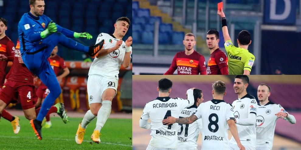 Roma da dimenticare: doppio rosso in 1', addio Coppa Italia