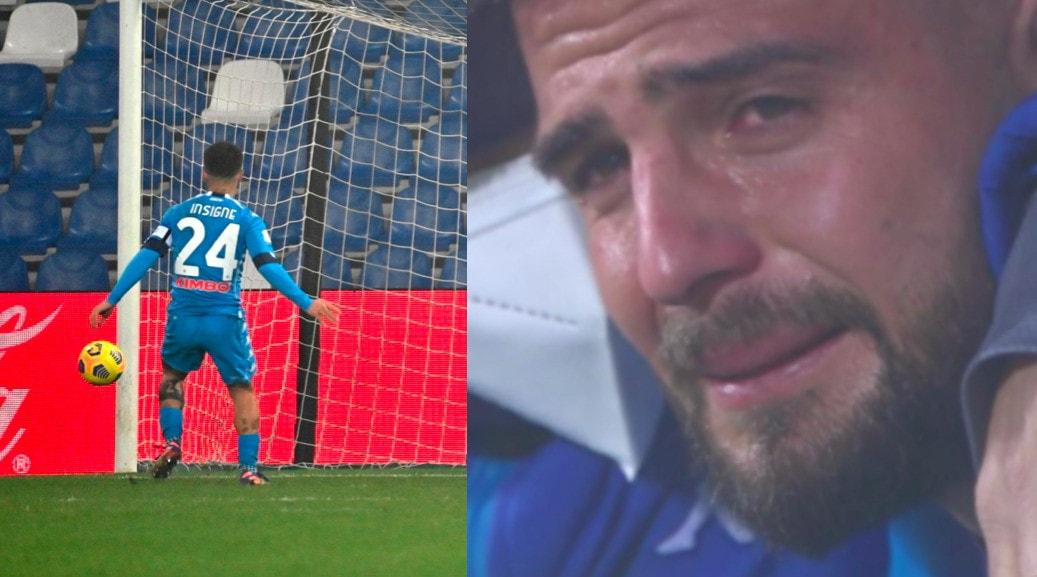 Insigne, lacrime dopo il rigore sbagliato in Juve-Napoli
