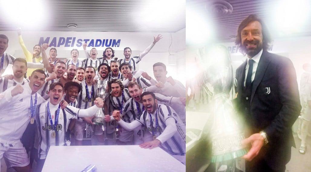Supercoppa alla Juve, grande gioia negli spogliatoi: festeggia anche Pirlo