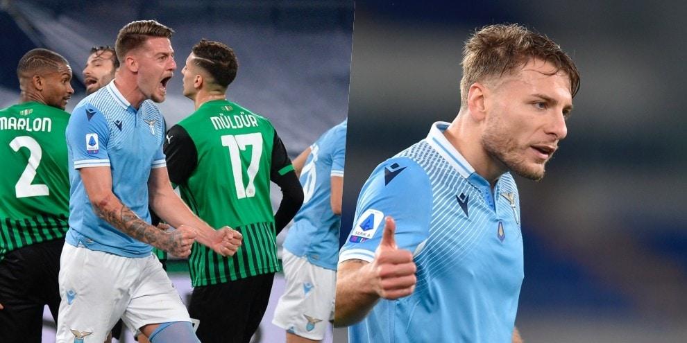 Lazio, Milinkovic-Immobile coppia gol: Sassuolo battuto 2-1