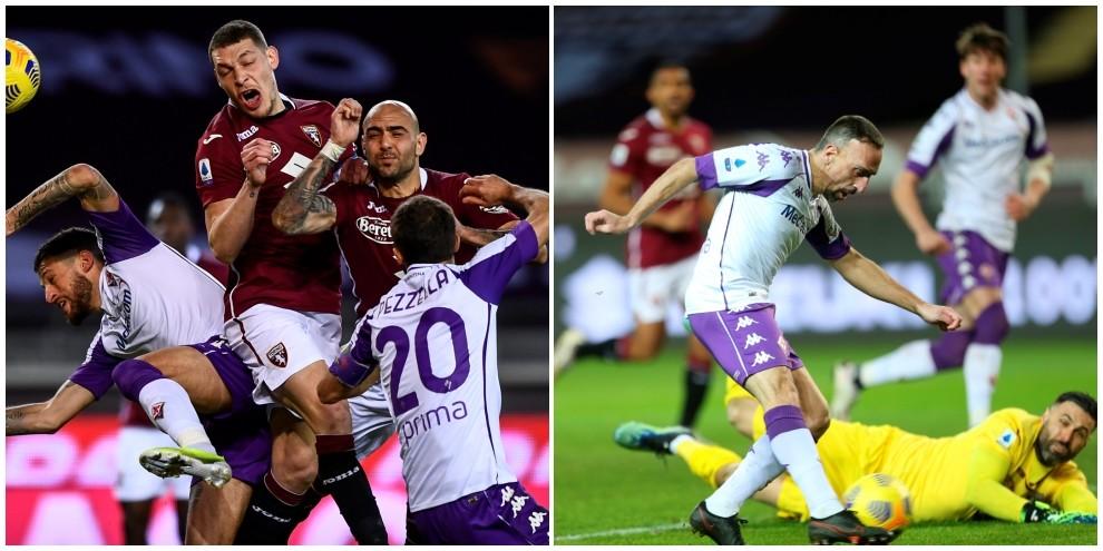 Torino-Fiorentina 1-1: magia di Ribery, pari di Belotti tra espulsi, pali e gol annullati