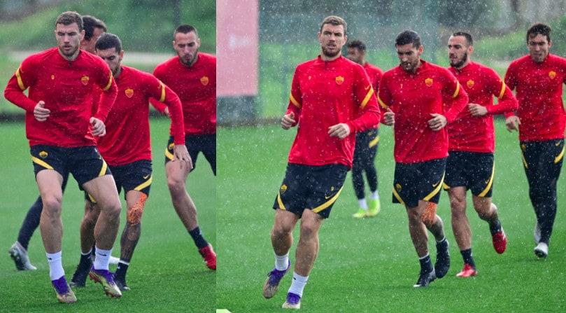 Roma, Dzeko guida il gruppo sotto la pioggia