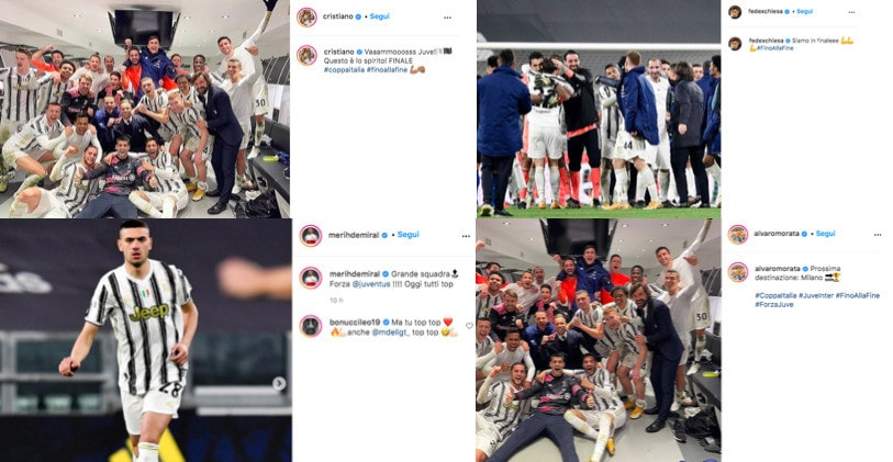 """Juve, i giocatori festeggiano sui social: """"Si va in finale!"""""""