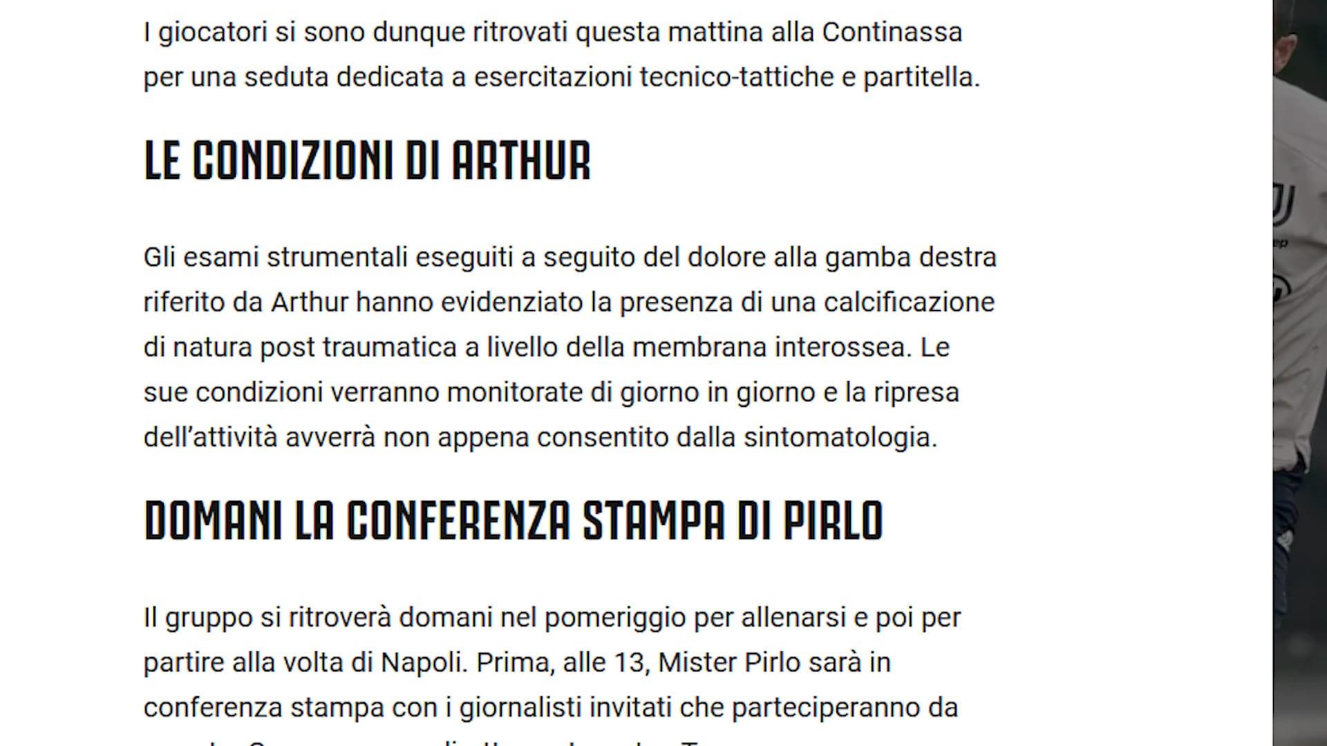Juve, Arthur salta il Napoli