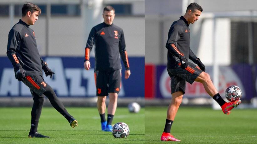Juve, Dybala in gruppo. Ronaldo concentrato per la Champions