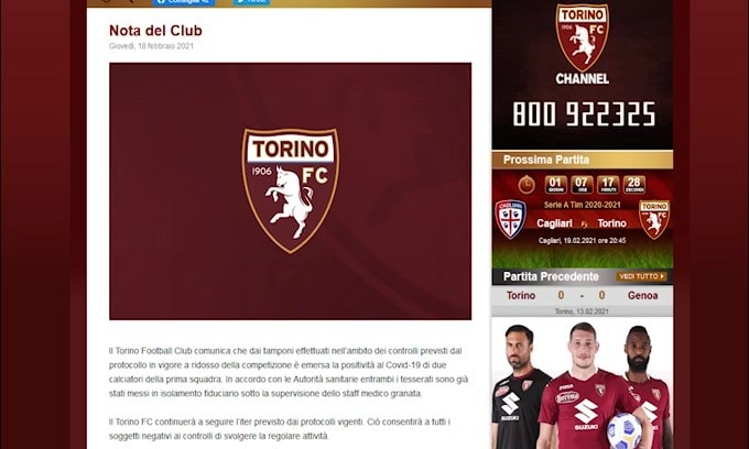 Torino, due calciatori positivi al Coronavirus