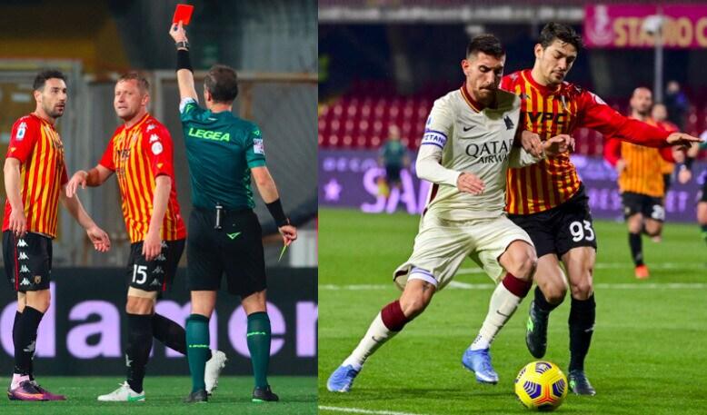 Glik espulso ma il Benevento resiste in dieci: 0-0 con la Roma