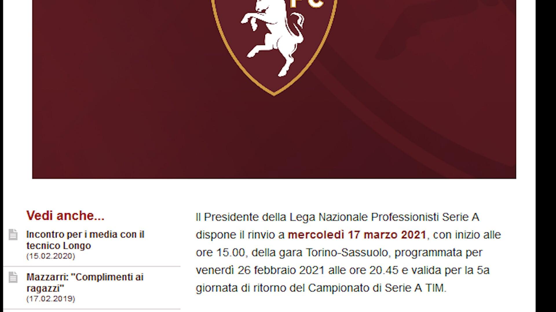Serie A, ufficiale: Torino-Sassuolo rinviata per Covid