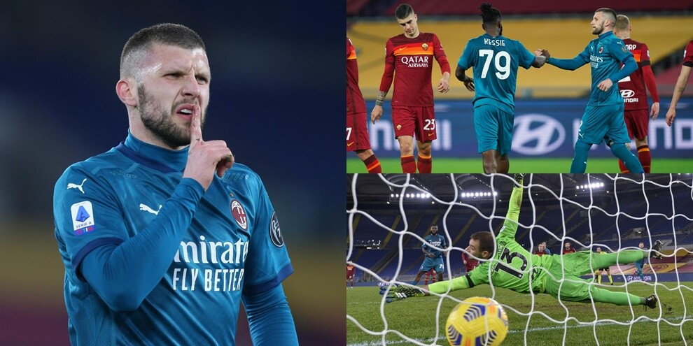 Kessie implacabile dal dischetto, gioiello di Rebic: il Milan batte 2-1 la Roma