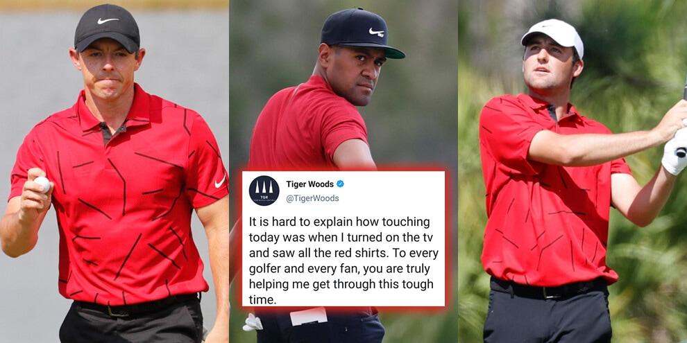 Il mondo del golf unito per Tigers Woods: tutti in rosso!