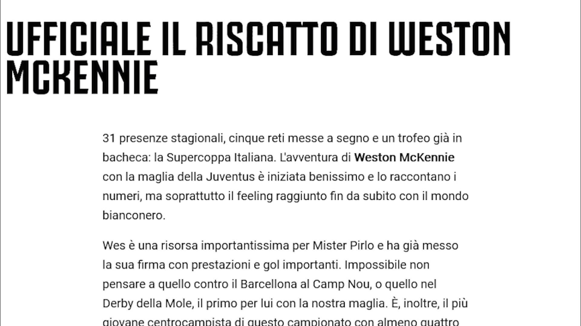 Ufficiale, Juventus: McKennie acquistato a titolo definitivo