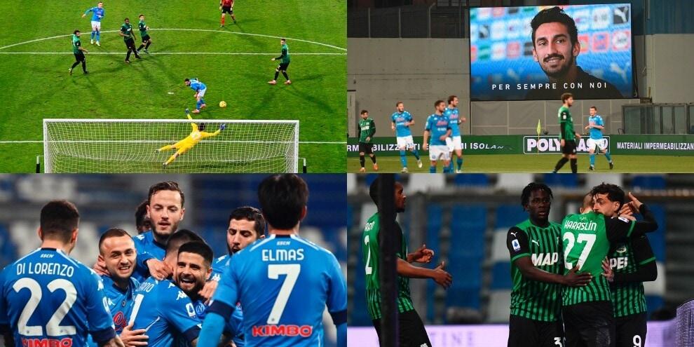 Sassuolo-Napoli show: 3-3 al 95' con due rigori nel ricordo di Astori