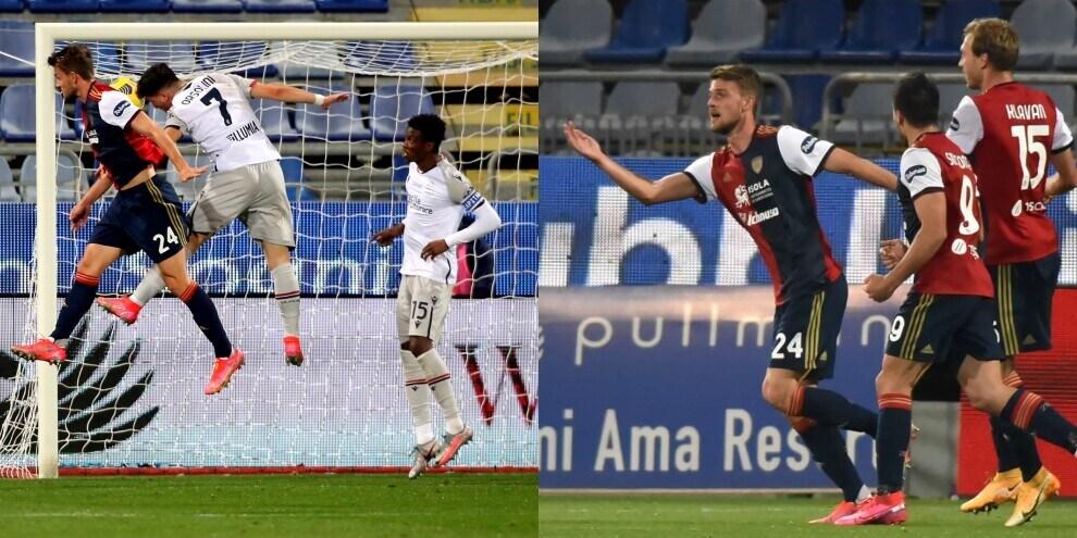 Cagliari-Bologna, decide Rugani: primo gol dell'ex Juve