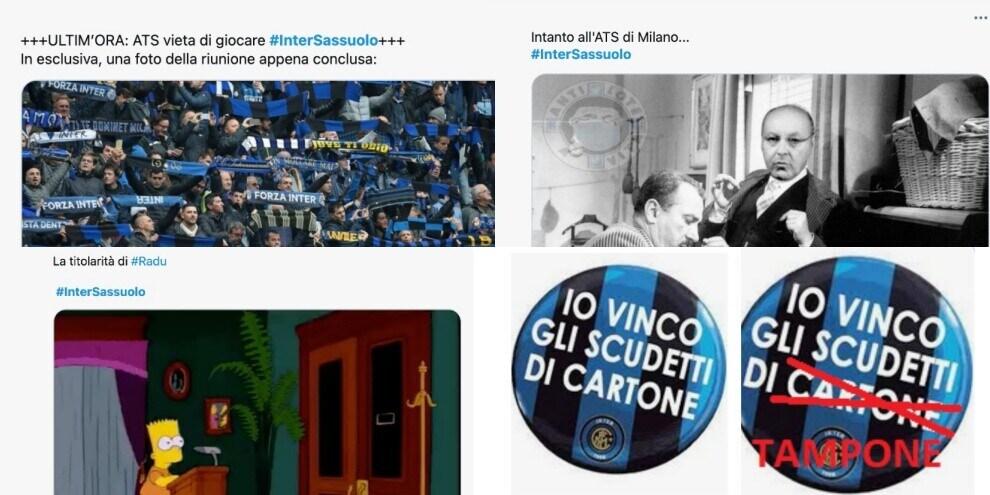 Rinvio Inter-Sassuolo, meme e ironie sui social