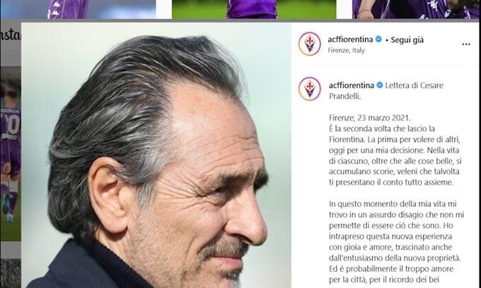 Prandelli, commovente lettera di addio alla Fiorentina