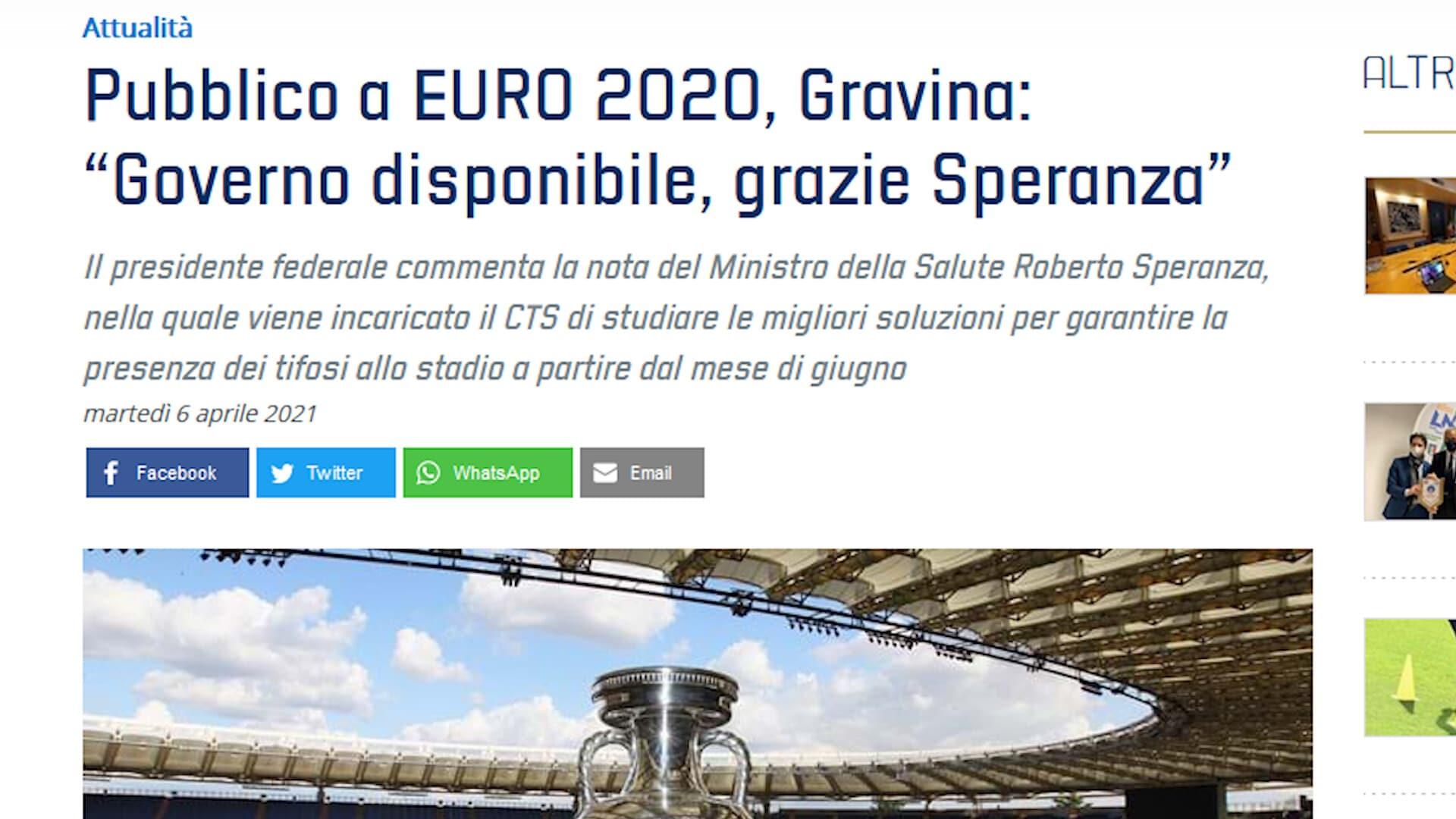 Europeo, Olimpico con i tifosi: arriva l'ok del Governo