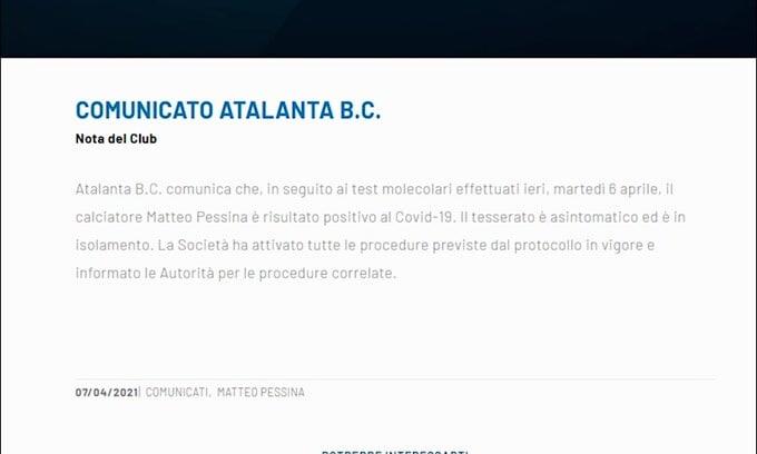 Atalanta, positivo Matteo Pessina