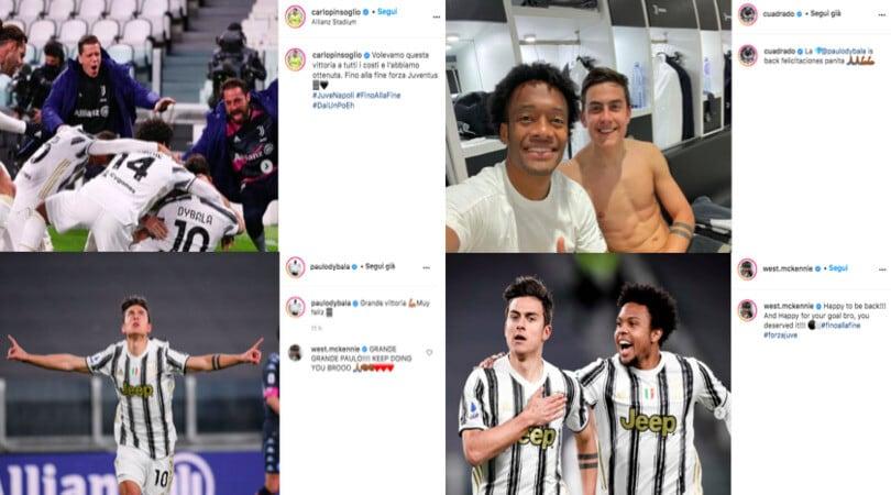 "Juve, i giocatori festeggiano sui social: ""Bentornato Dybala"""