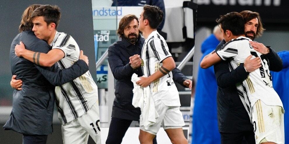 Juve, che abbraccio Dybala-Pirlo dopo il gol!